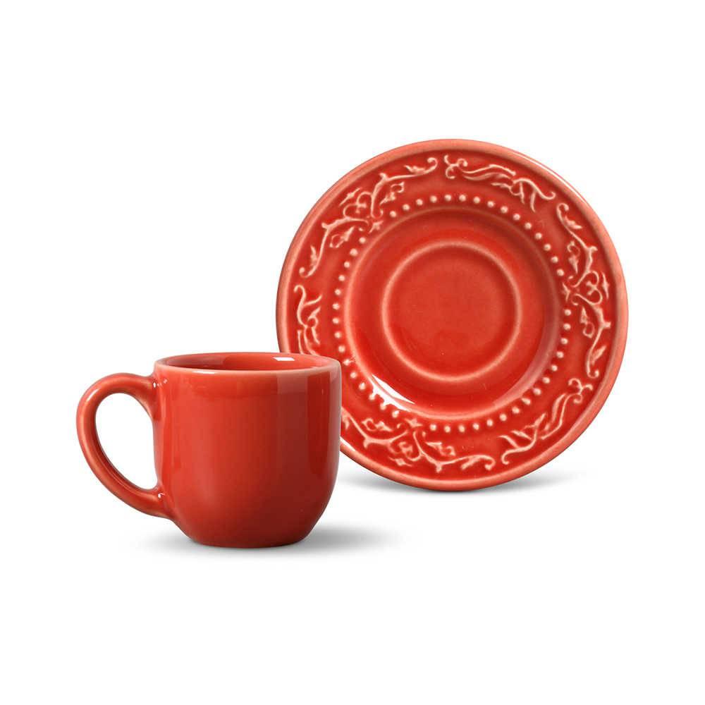 Conjunto 6 Xícaras para Café com Pires Acanthus Vermelho - em Cerâmica - La Tavola - Porto Brasil - 11x5,5 cm