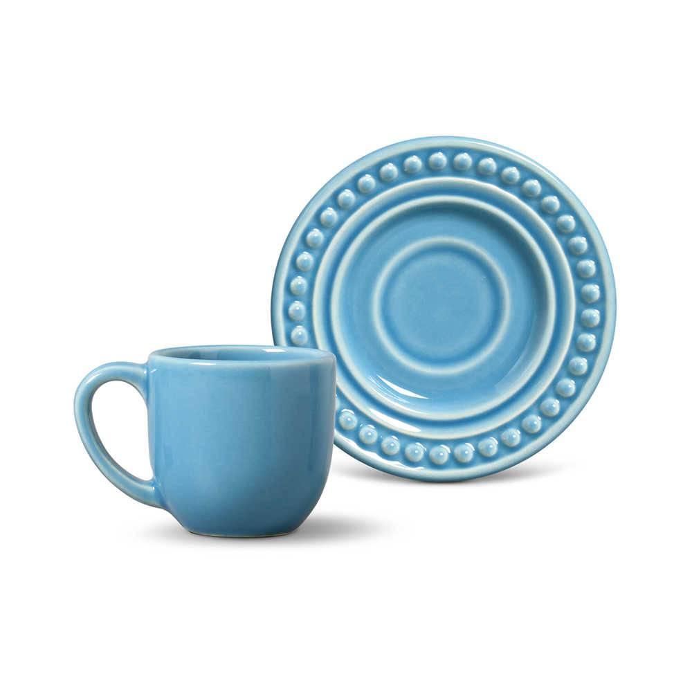 Conjunto 6 Xícaras para Café com Pires Atenas Azul Celeste - em Cerâmica - La Tavola - Porto Brasil - 11x5,5 cm