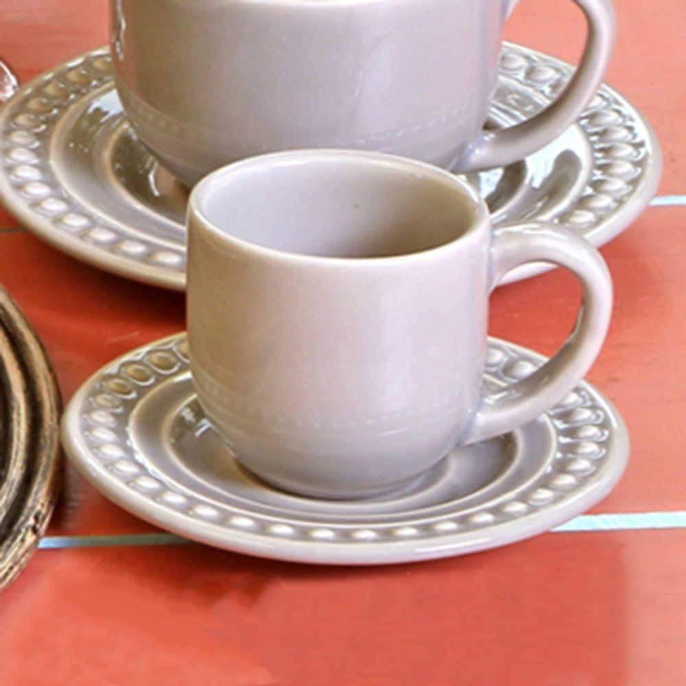 Conjunto 6 Xícaras para Café com Pires Atenas Cinza Claro - em Cerâmica - La Tavola - Porto Brasil - 11x5,5 cm