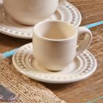 Conjunto 6 Xícaras para Café com Pires Atenas Cru 11x5,5 cm