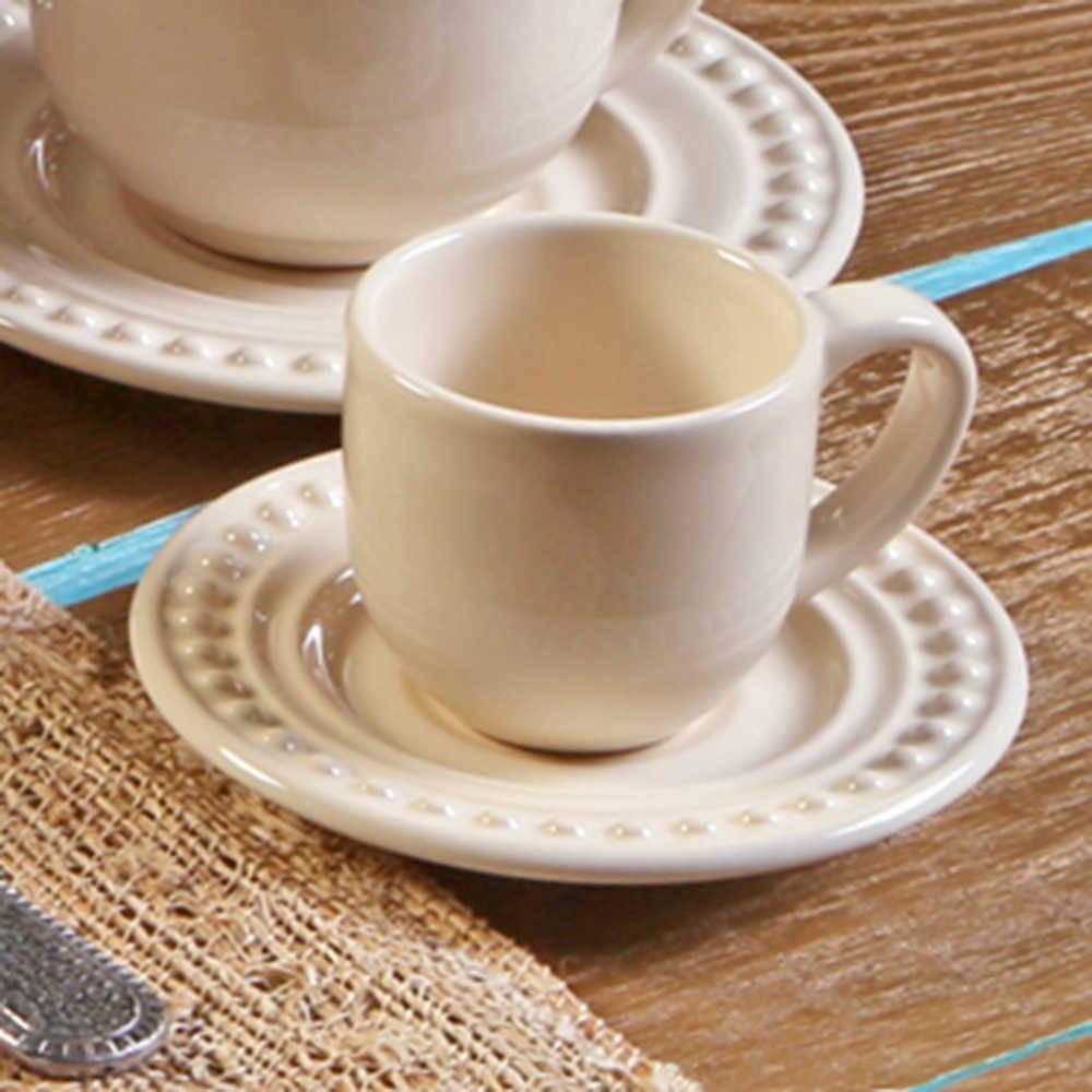Conjunto 6 Xícaras para Café com Pires Atenas Cru - em Cerâmica - La Tavola - Porto Brasil - 11x5,5 cm