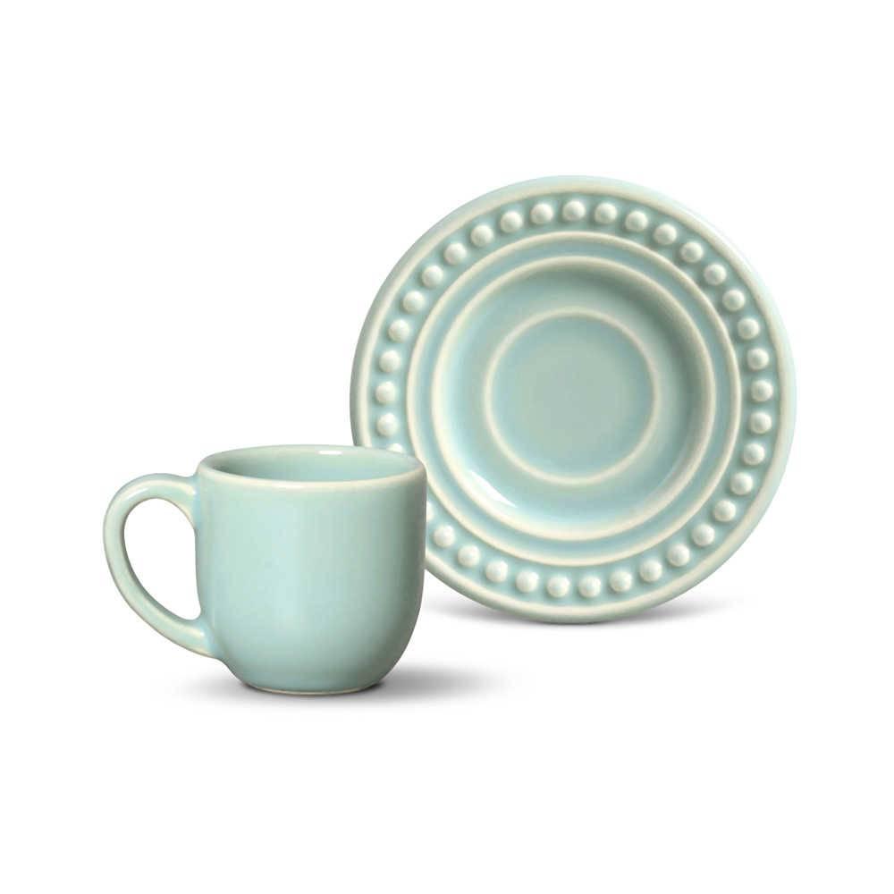 Conjunto 6 Xícaras para Café com Pires Atenas Verde - em Cerâmica - La Tavola - Porto Brasil - 11x5,5 cm