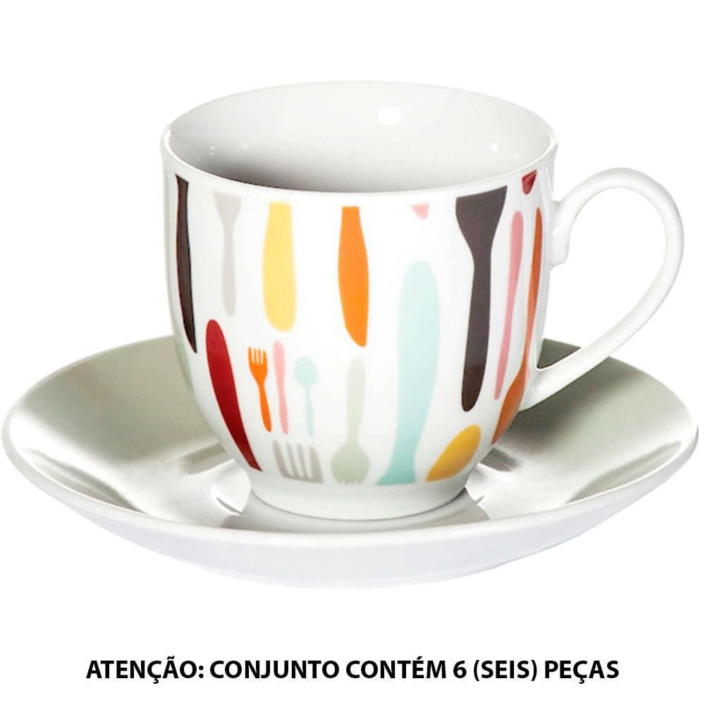 Conjunto 6 Xícaras para Café com Pires Cutlery Coloridas em Porcelana - 100 ml - Urban - 6,5x6 cm