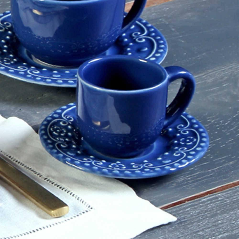 Conjunto 6 Xícaras para Café com Pires Esparta Azul Navy - em Cerâmica - La Tavola - Porto Brasil - 11x5,5 cm