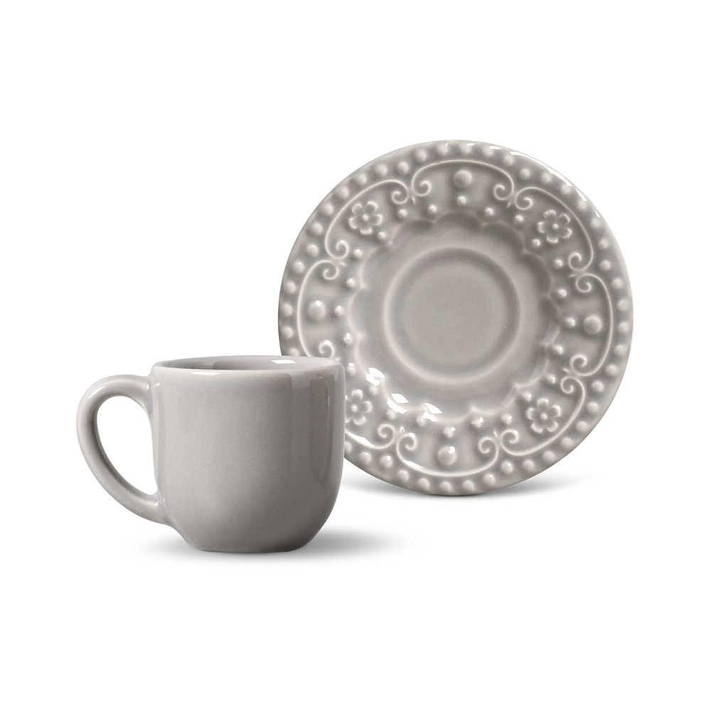 Conjunto 6 Xícaras para Café com Pires Esparta Cinza Claro - em Cerâmica - La Tavola - Porto Brasil - 11x5,5 cm