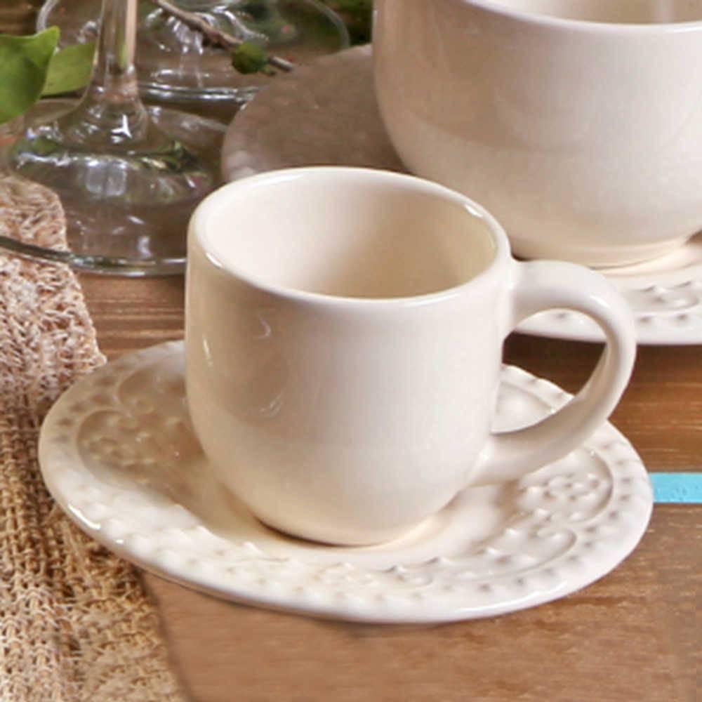 Conjunto 6 Xícaras para Café com Pires Esparta Cru - em Cerâmica - La Tavola - Porto Brasil - 11x5,5 cm