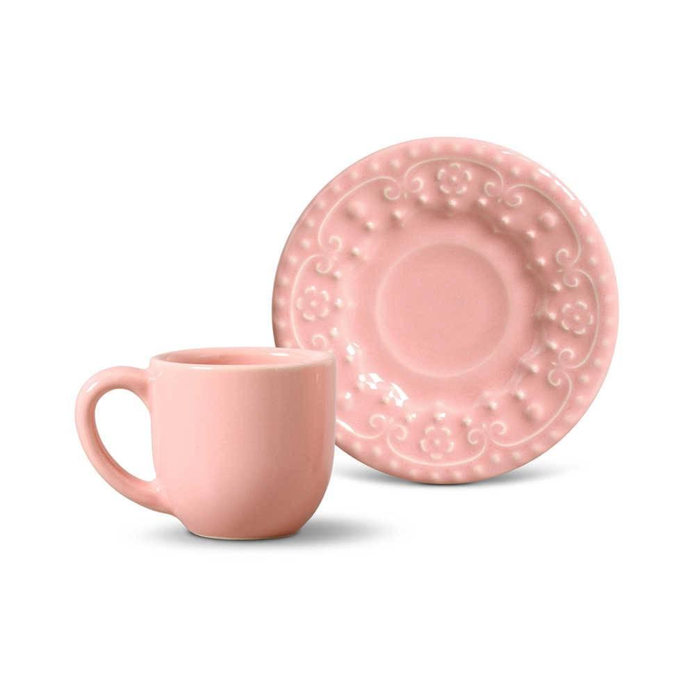 Conjunto 6 Xícaras para Café com Pires Esparta Rosa - em Cerâmica - La Tavola - Porto Brasil - 11x5,5 cm