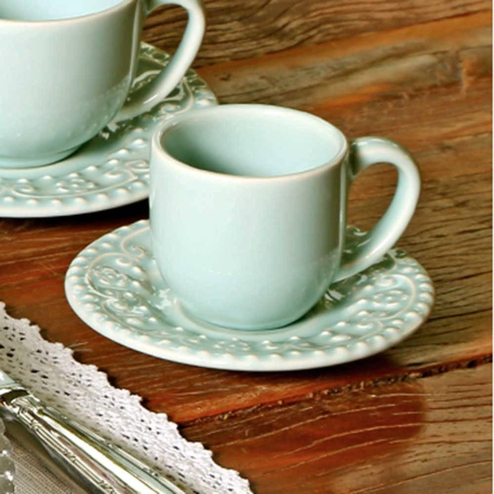 Conjunto 6 Xícaras para Café com Pires Esparta Verde - em Cerâmica - La Tavola - Porto Brasil - 11x5,5 cm