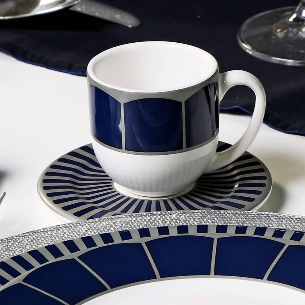 Conjunto 6 Xícaras de Café com Pires Flat Cobalt - em Cerâmica - Porto Brasil