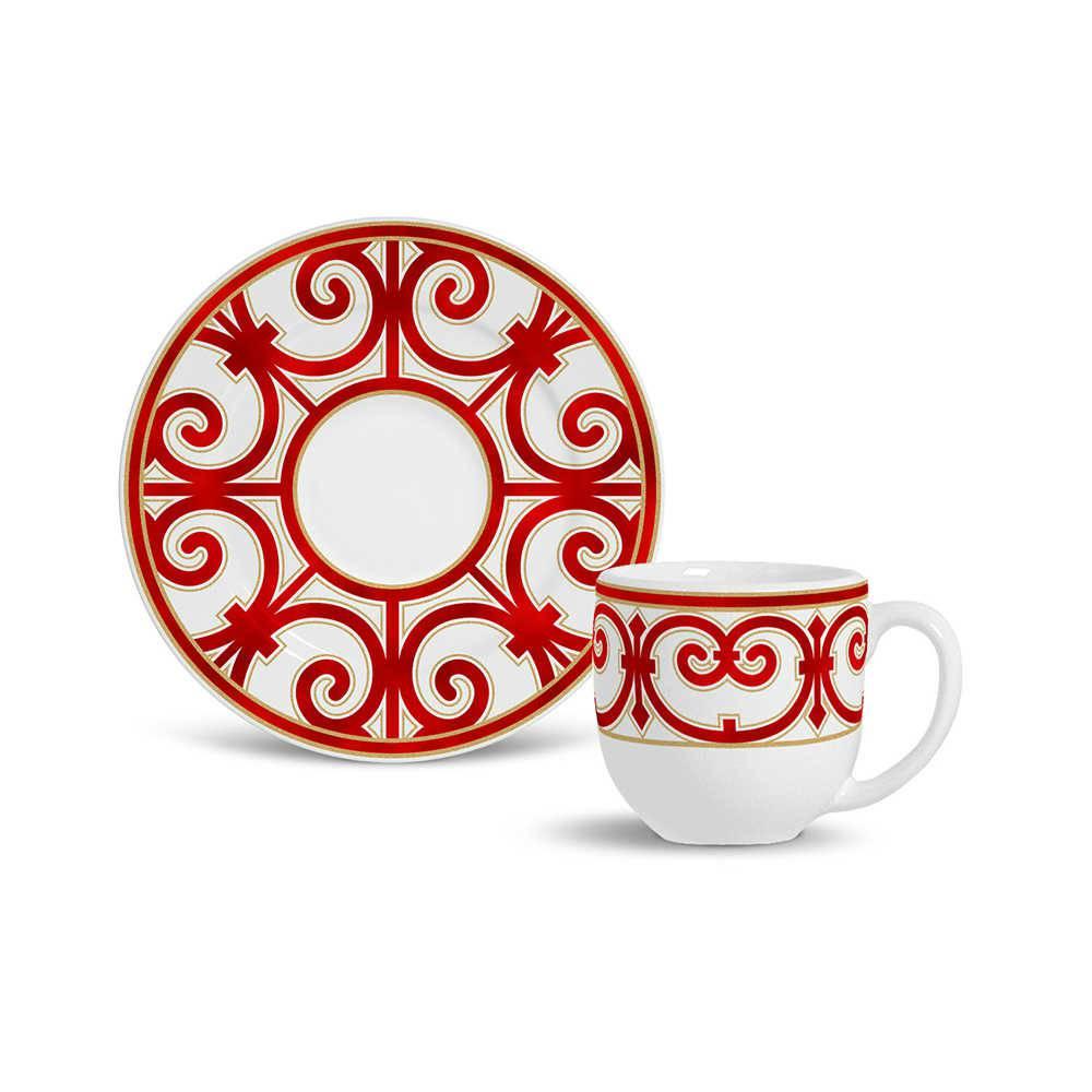 Conjunto 6 Xícaras de Café com Pires Flat Medieval Vermelho em Cerâmica - Porto Brasil