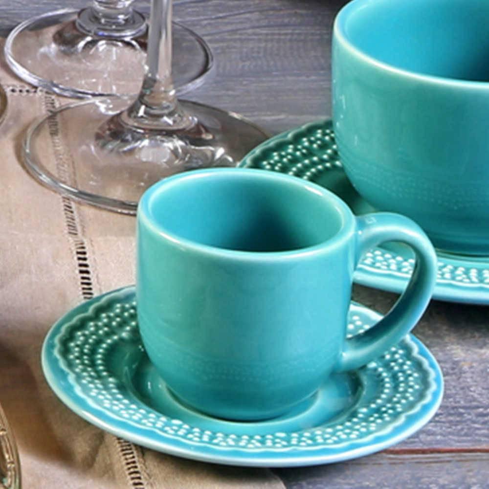 Conjunto 6 Xícaras para Café com Pires Madeleine Azul Poppy - em Cerâmica - La Tavola - Porto Brasil - 11x5,5 cm