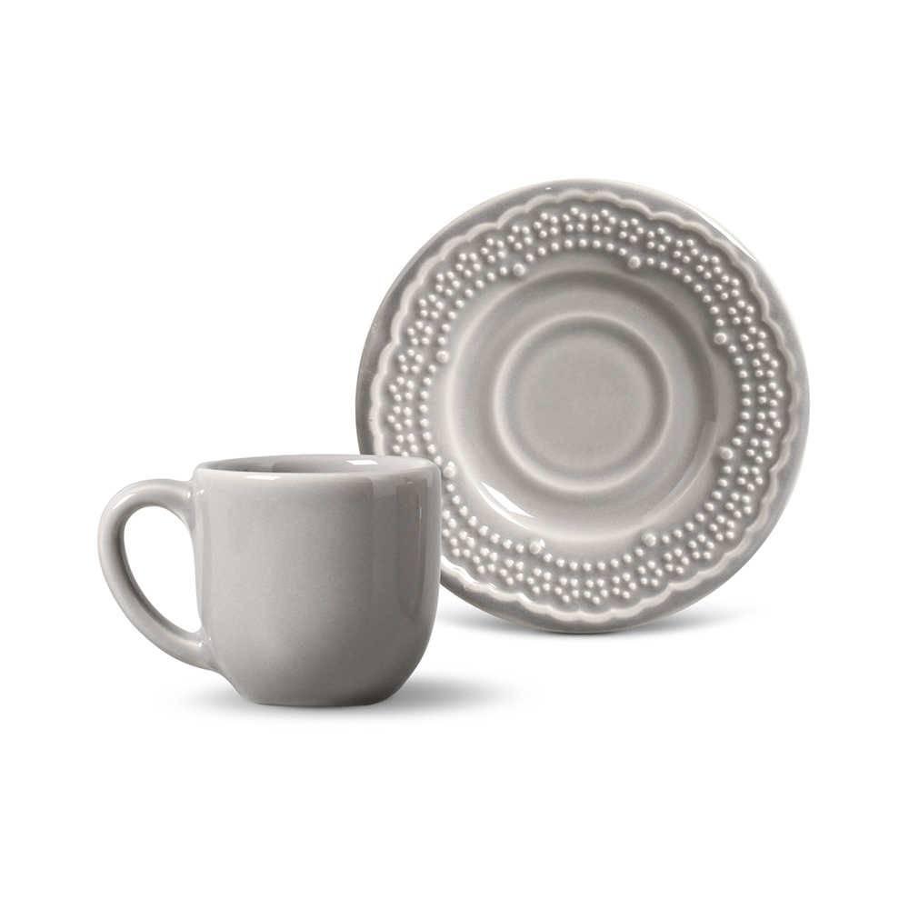 Conjunto 6 Xícaras para Café com Pires Madeleine Cinza Claro - em Cerâmica - La Tavola - Porto Brasil - 11x5,5 cm