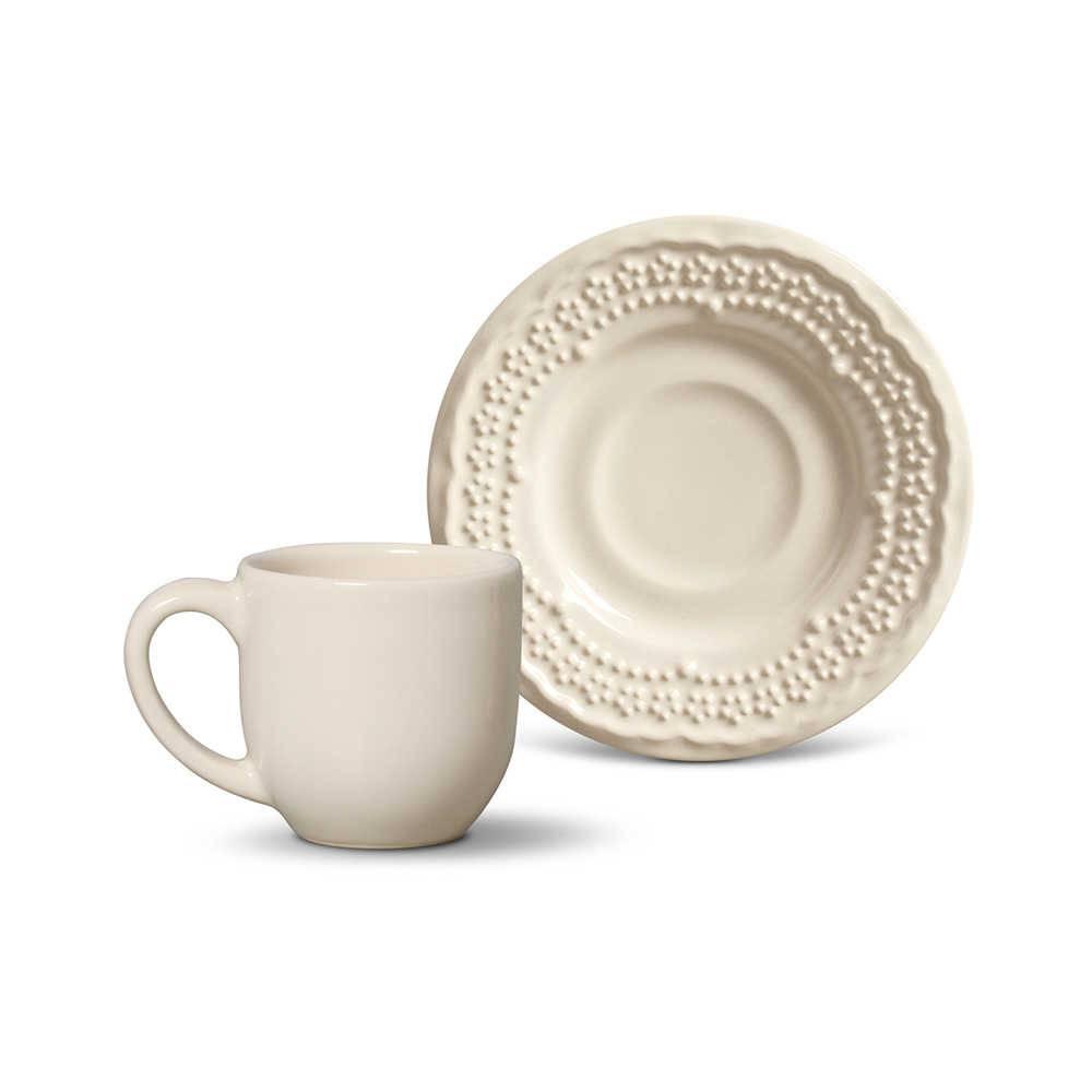 Conjunto 6 Xícaras para Café com Pires Madeleine Cru - em Cerâmica - La Tavola - Porto Brasil - 11x5,5 cm