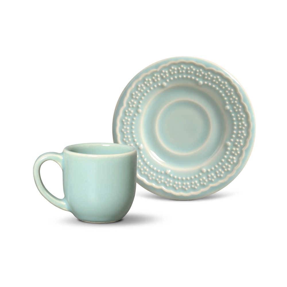 Conjunto 6 Xícaras para Café com Pires Madeleine Verde - em Cerâmica - La Tavola - Porto Brasil - 11x5,5 cm