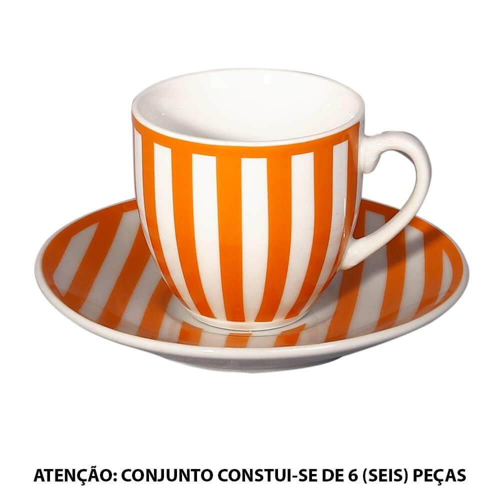 Conjunto 6 Xícaras para Café com Pires Mix And Match Listras em Porcelana - 90 ml - L Hermitage