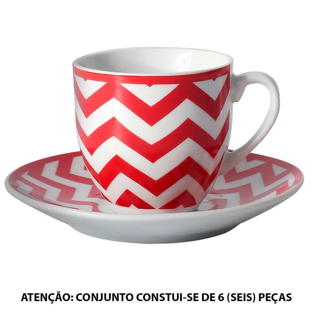 Conjunto 6 Xícaras para Café com Pires Mix And Match Vermelho em Porcelana - 90 ml - L Hermitage