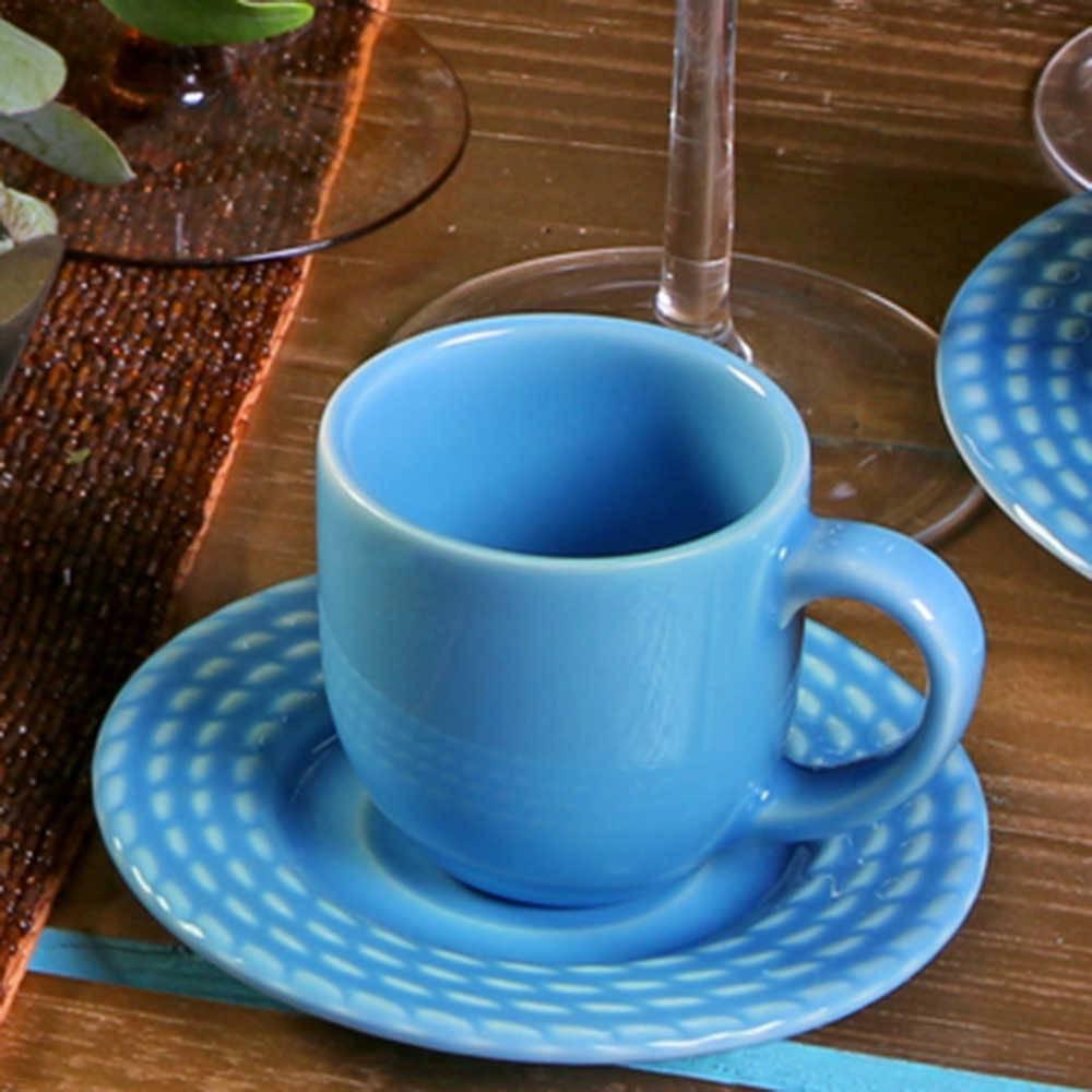 Conjunto 6 Xícaras para Café com Pires Olímpia Azul Celeste - em Cerâmica - La Tavola - Porto Brasil - 11x5,5 cm
