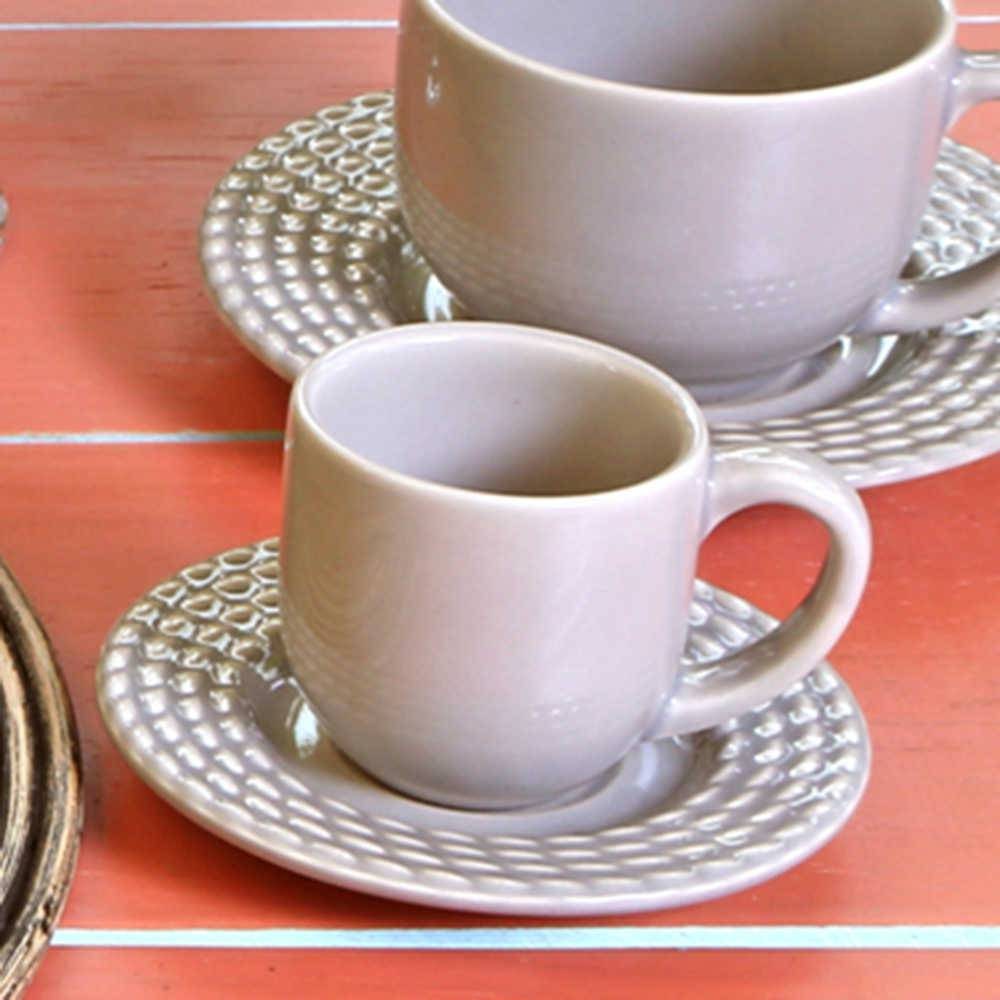 Conjunto 6 Xícaras para Café com Pires Olímpia Cinza Claro - em Cerâmica - La Tavola - Porto Brasil - 11x5,5 cm