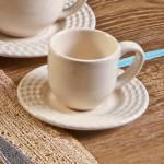 Conjunto 6 Xícaras para Café com Pires Olímpia Cru 11x5,5 cm