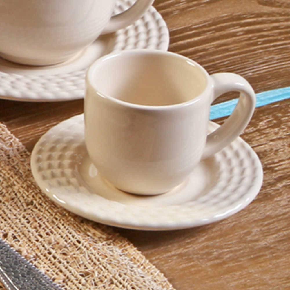 Conjunto 6 Xícaras para Café com Pires Olímpia Cru - em Cerâmica - La Tavola - Porto Brasil - 11x5,5 cm