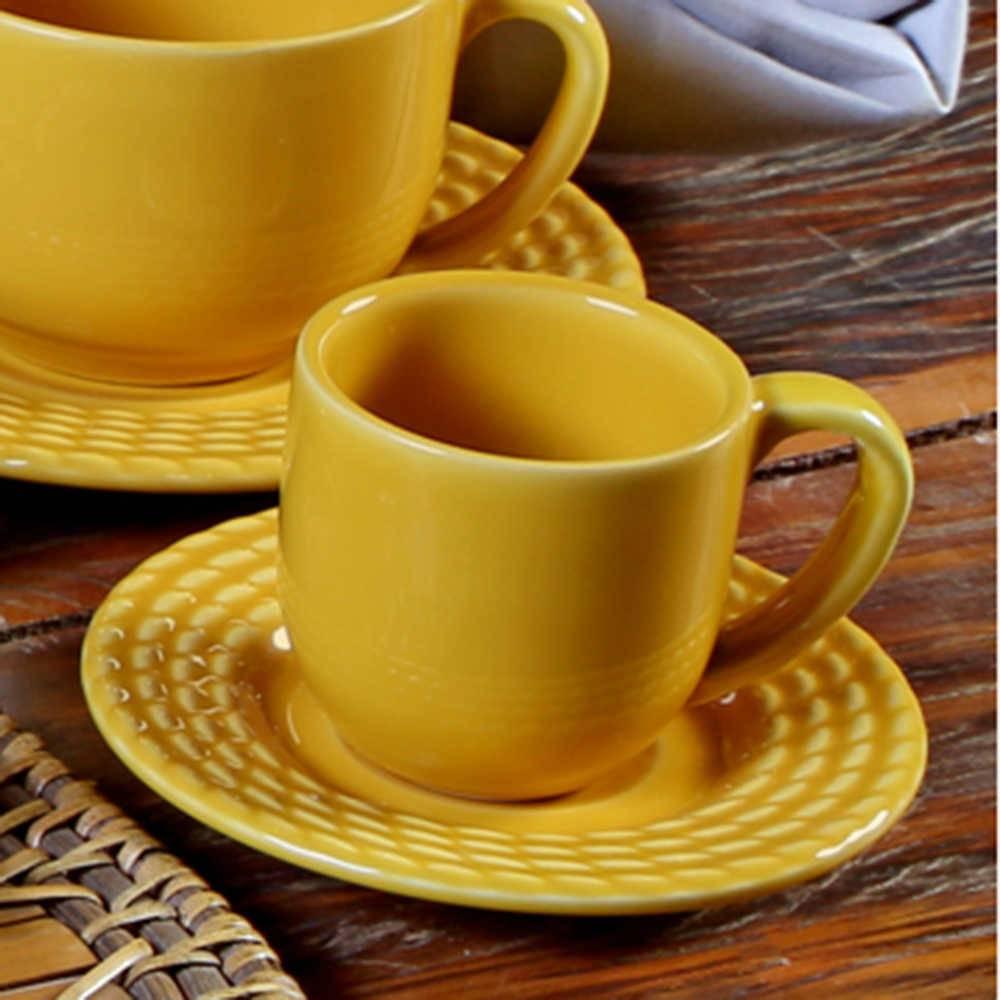 Conjunto 6 Xícaras para Café com Pires Olímpia Mostarda - em Cerâmica - La Tavola - Porto Brasil - 11x5,5 cm