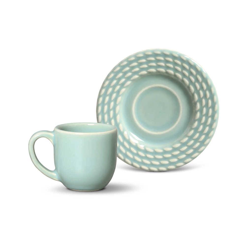 Conjunto 6 Xícaras para Café com Pires Olímpia Verde - em Cerâmica - La Tavola - Porto Brasil - 11x5,5 cm