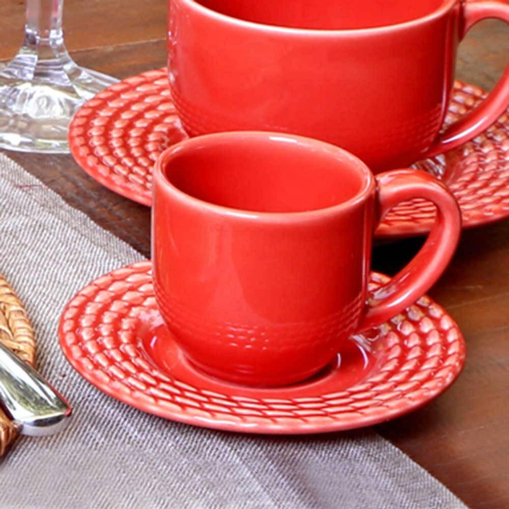 Conjunto 6 Xícaras para Café com Pires Olímpia Vermelho - em Cerâmica - La Tavola - Porto Brasil - 11x5,5 cm