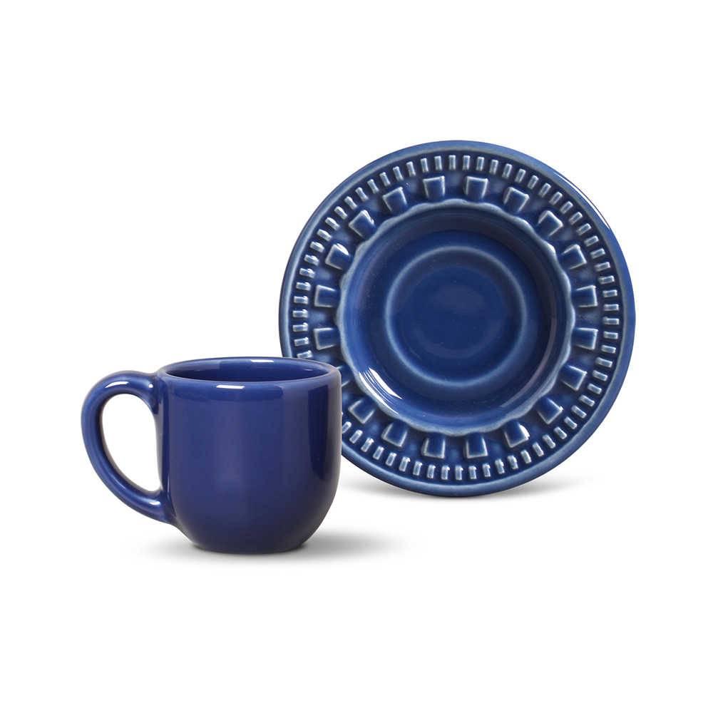 Conjunto 6 Xícaras para Café com Pires Parthenon Azul Navy - em Cerâmica - La Tavola - Porto Brasil - 11x5,5 cm