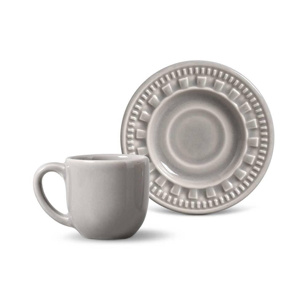Conjunto 6 Xícaras para Café com Pires Parthenon Cinza Claro - em Cerâmica - La Tavola - Porto Brasil - 11x5,5 cm