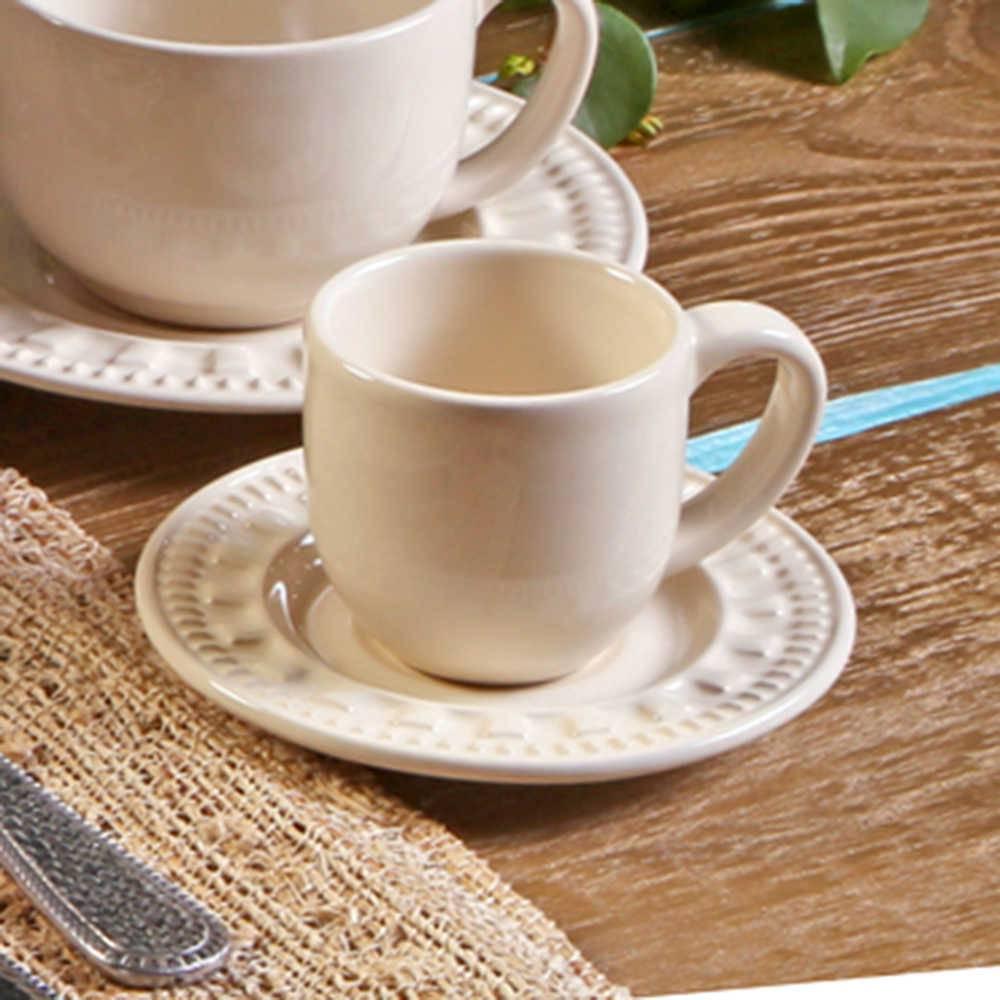 Conjunto 6 Xícaras para Café com Pires Parthenon Cru - em Cerâmica - La Tavola - Porto Brasil - 11x5,5 cm