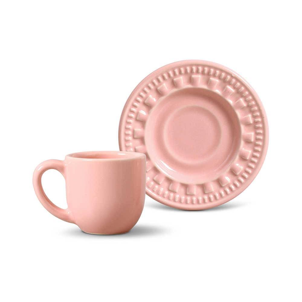 Conjunto 6 Xícaras para Café com Pires Parthenon Rosa - em Cerâmica - La Tavola - Porto Brasil - 11x5,5 cm