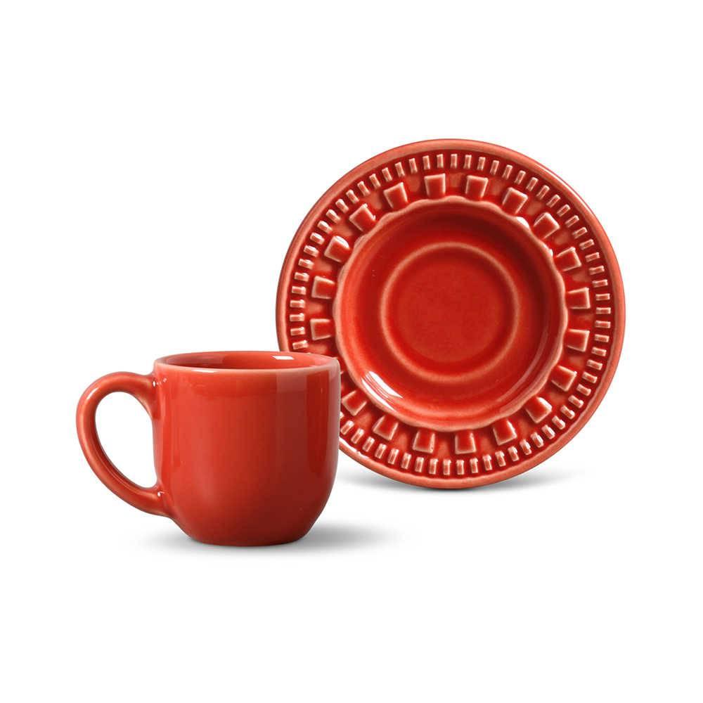 Conjunto 6 Xícaras para Café com Pires Parthenon Vermelho - em Cerâmica - La Tavola - Porto Brasil - 11x5,5 cm