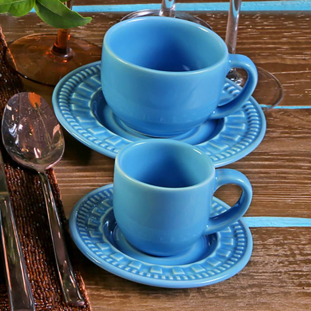 Conjunto 6 Xícaras para Café com Pires Parthenon Azul Celeste - em Cerâmica - La Tavola - Porto Brasil - 11x5,5 cm