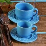 Conjunto 6 Xícaras para Café c/ Pires Parthenon Azul Celeste