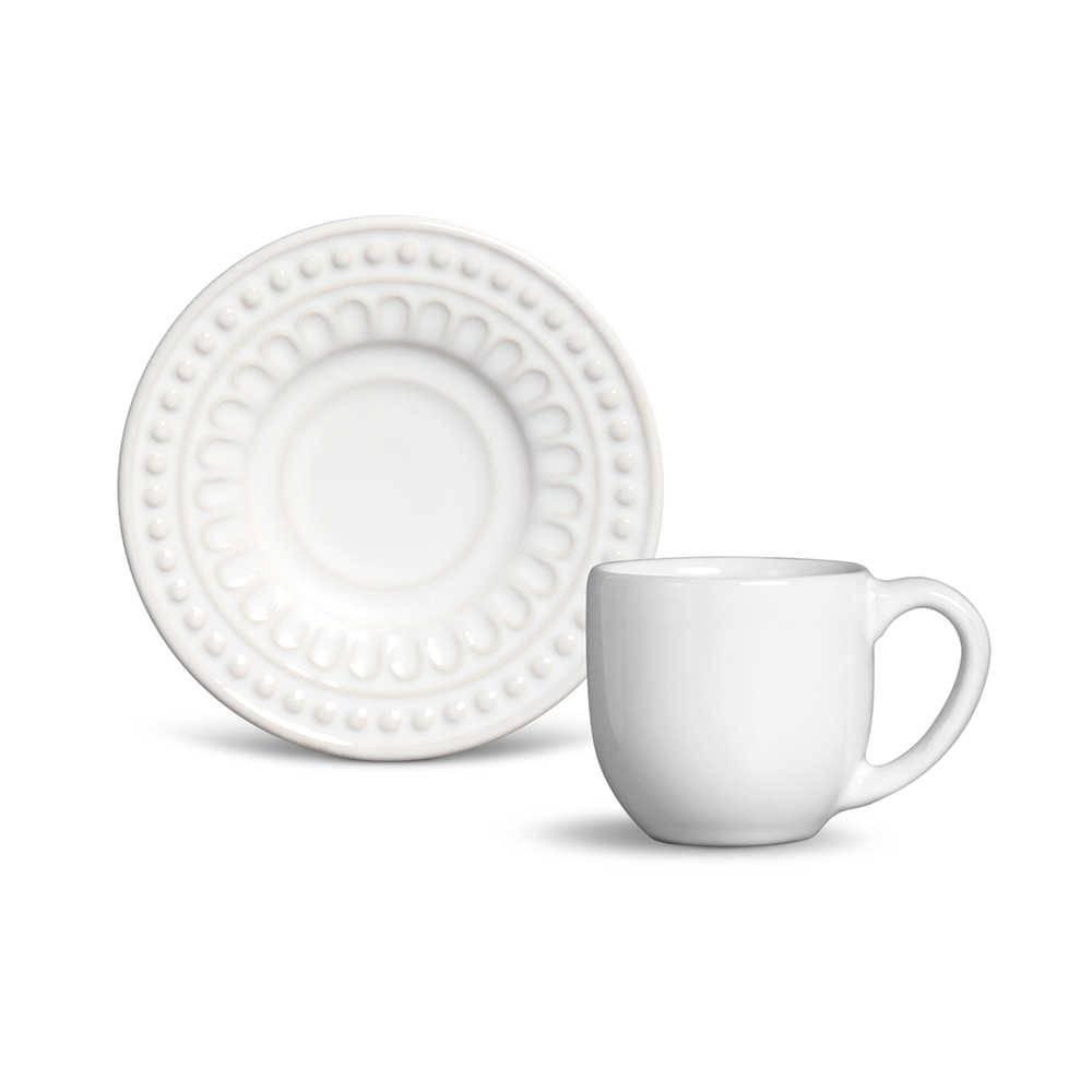 Conjunto 6 Xícaras de Café com Pires Pérgamo Branco em Cerâmica - Ravenna - Porto Brasil