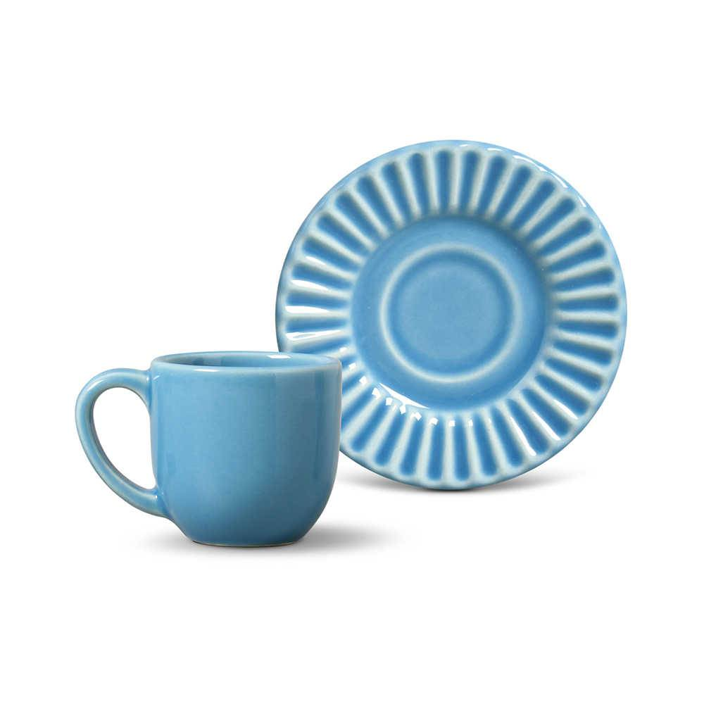 Conjunto 6 Xícaras para Café com Pires Plissé Azul Celeste - em Cerâmica - La Tavola - Porto Brasil - 11x5,5 cm