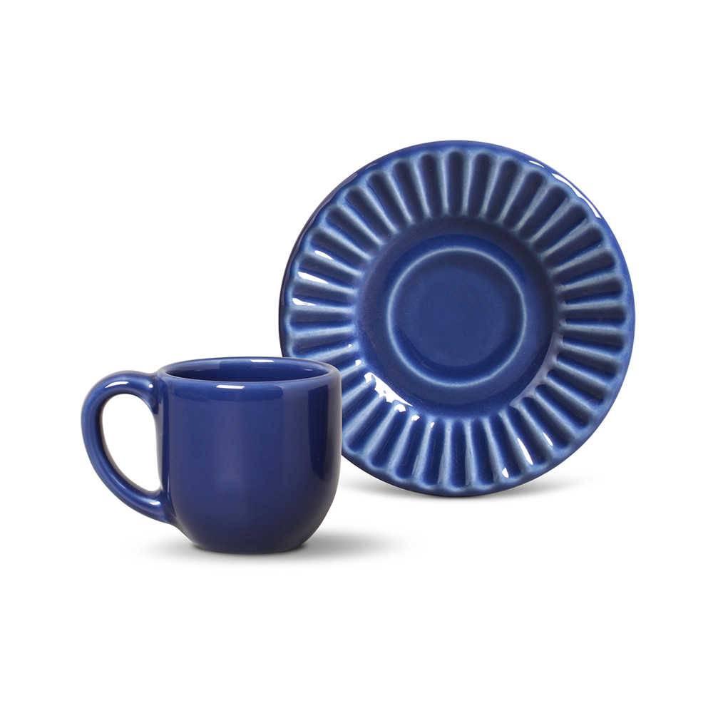 Conjunto 6 Xícaras para Café com Pires Plissé Azul Navy - em Cerâmica - La Tavola - Porto Brasil - 11x5,5 cm