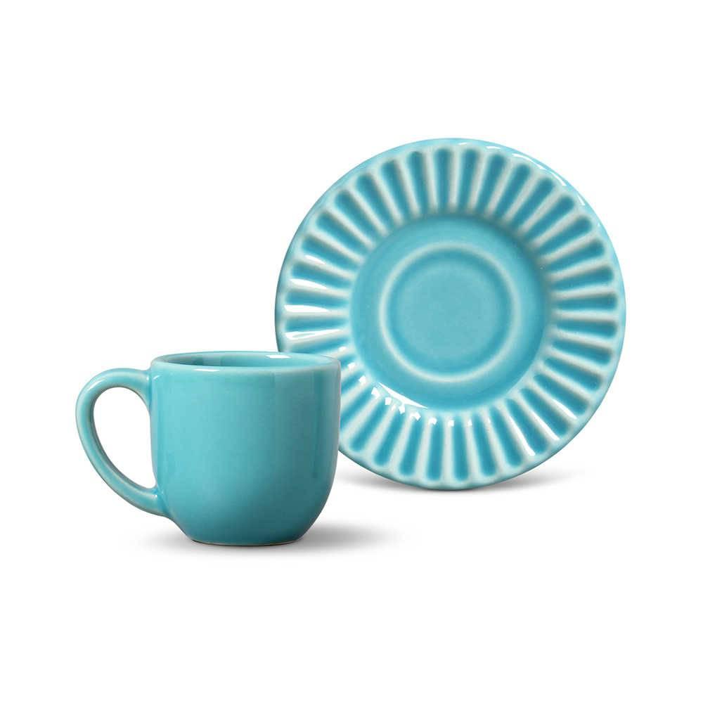 Conjunto 6 Xícaras para Café com Pires Plissé Azul Poppy - em Cerâmica - La Tavola - Porto Brasil - 11x5,5 cm