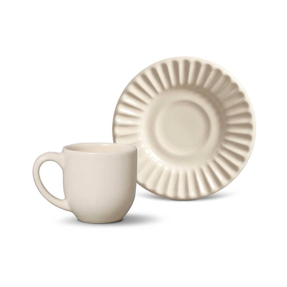 Conjunto 6 Xícaras para Café com Pires Plissé Cru - em Cerâmica - La Tavola - Porto Brasil - 11x5,5 cm