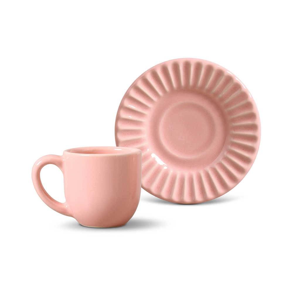 Conjunto 6 Xícaras para Café com Pires Plissé Rosa - em Cerâmica - La Tavola - Porto Brasil - 11x5,5 cm