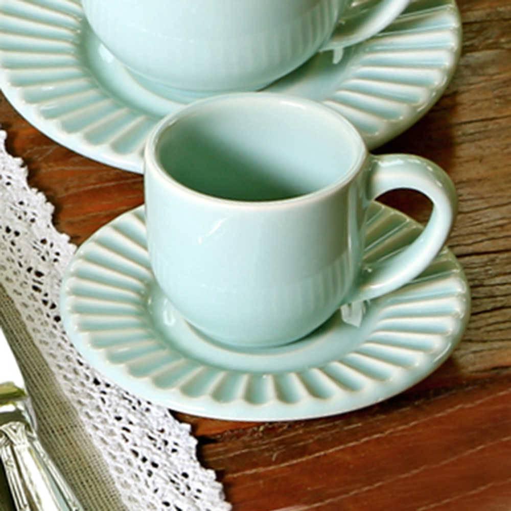 Conjunto 6 Xícaras para Café com Pires Plissé Verde - em Cerâmica - La Tavola - Porto Brasil - 11x5,5 cm