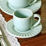 Conjunto 6 Xícaras para Café com Pires Plissé Verde