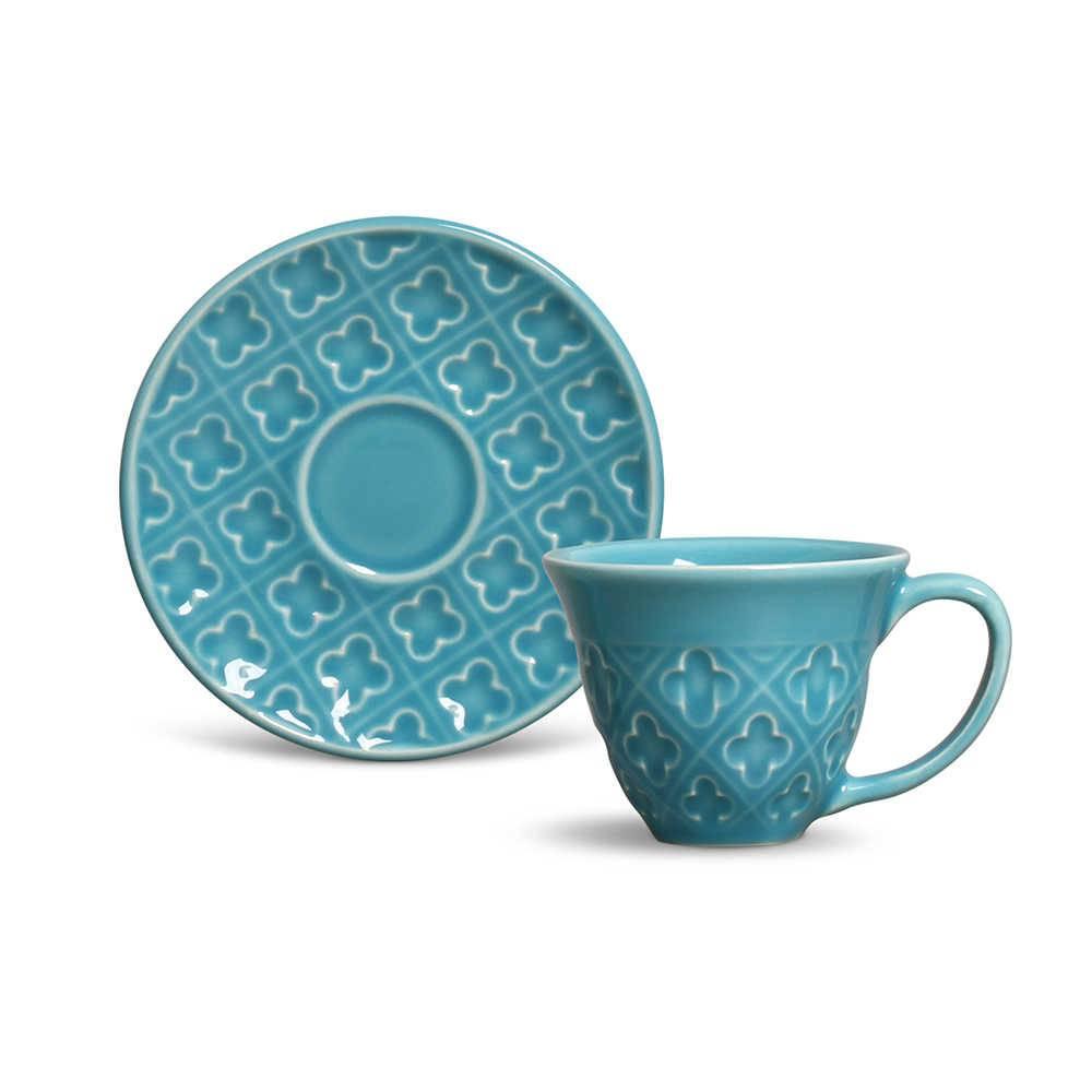Conjunto 6 Xícaras de Café com Pires Relief Azul Poppy em Cerâmica - Porto Brasil