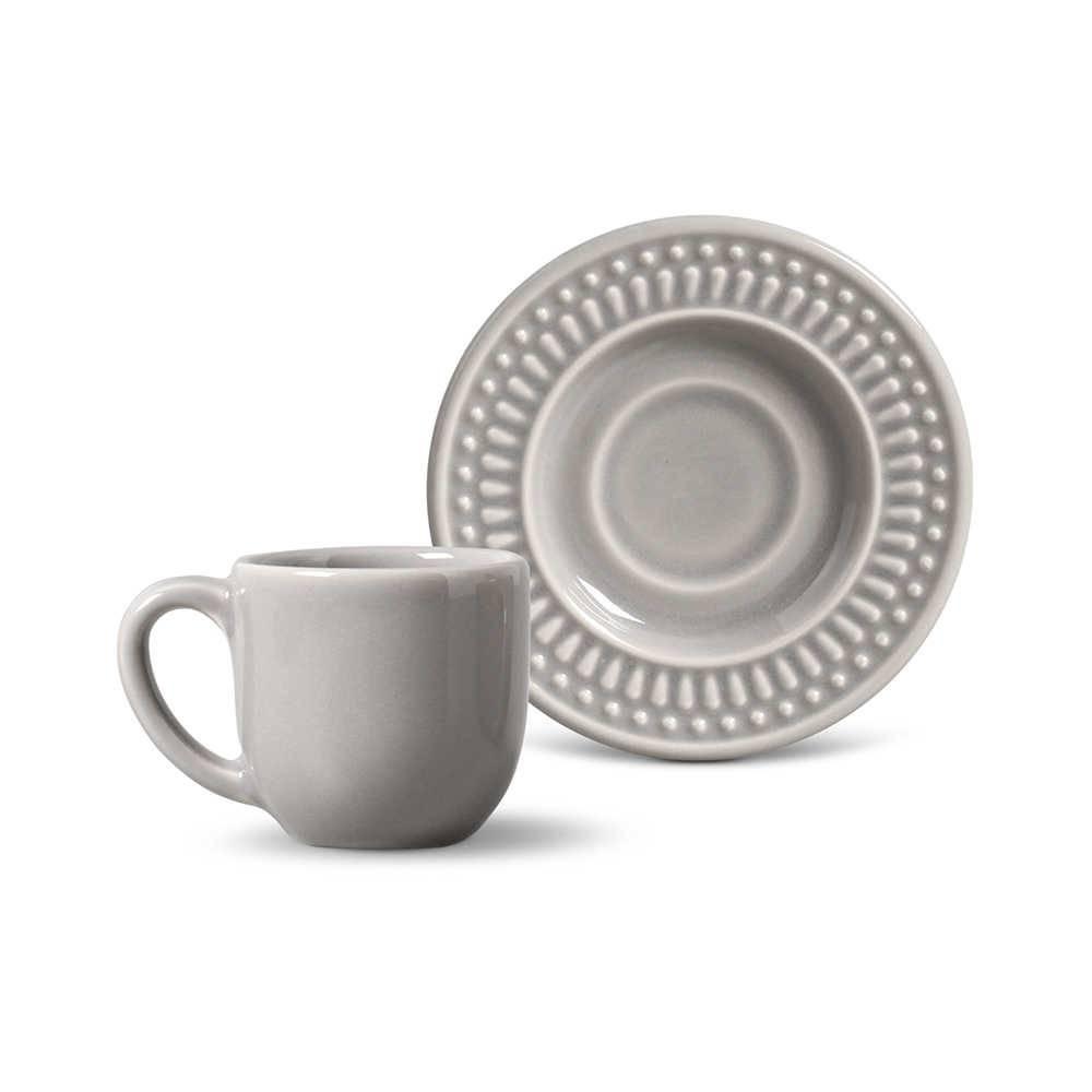 Conjunto 6 Xícaras para Café com Pires Roma Cinza Claro - em Cerâmica - La Tavola - Porto Brasil - 11x5,5 cm