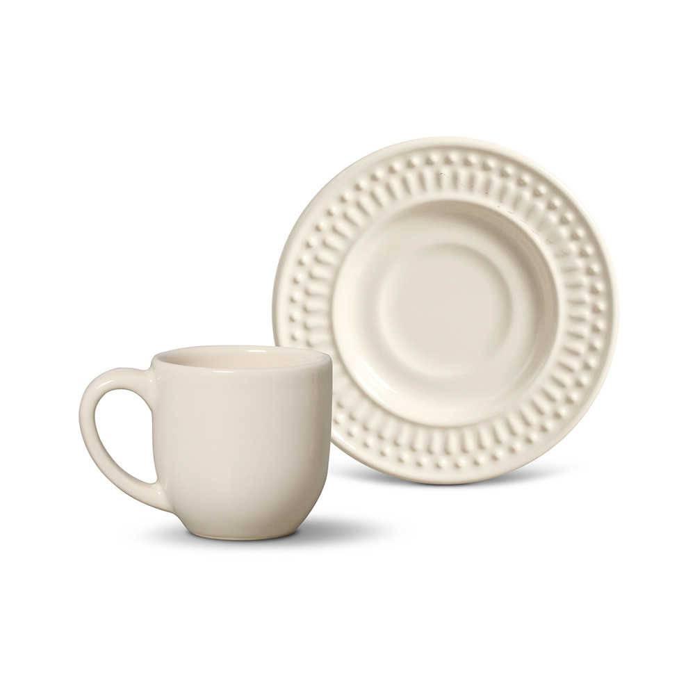 Conjunto 6 Xícaras para Café com Pires Roma Cru - em Cerâmica - La Tavola - Porto Brasil - 11x5,5 cm