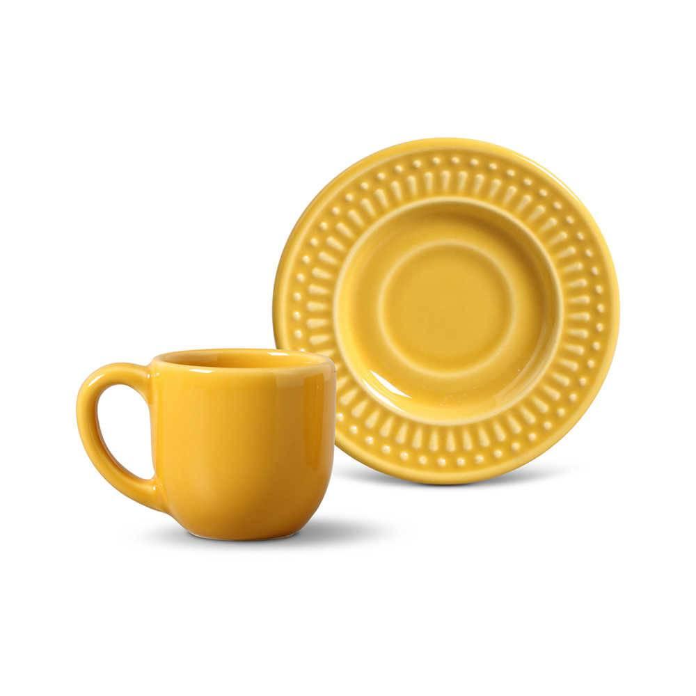 Conjunto 6 Xícaras para Café com Pires Roma Mostarda - em Cerâmica - La Tavola - Porto Brasil - 11x5,5 cm
