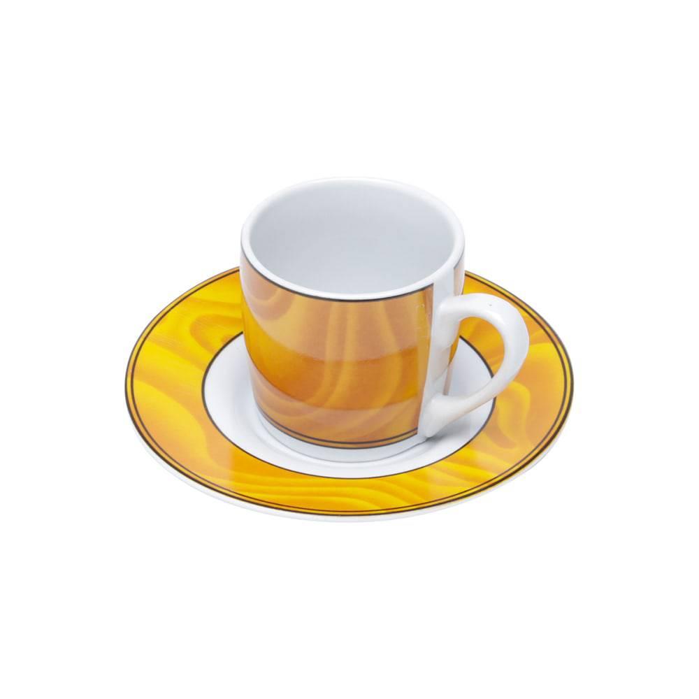 Conjunto 6 Xícaras para Café com Pires Silva em Porcelana - 90 ml - Bon Gourmet
