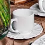 Conjunto 6 Xícaras de Café com Pires Windsor Branco - em Cerâmica - Porto Brasil