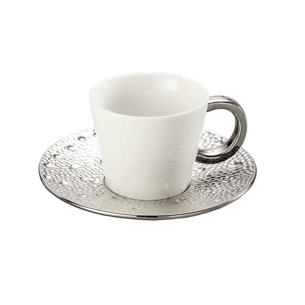Conjunto 6 Xícaras para Chá - 180 ml - Drop Prata de Porcelana - Lyor Classic