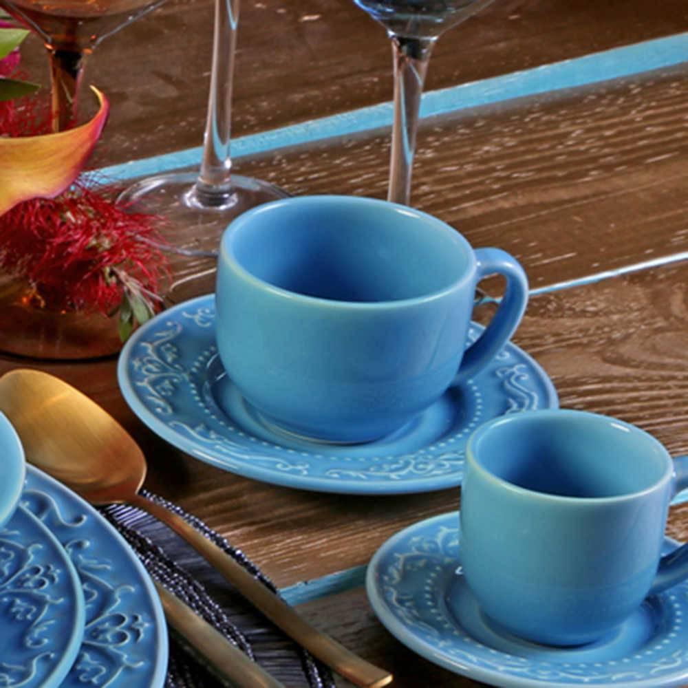 Conjunto 6 Xícaras para Chá com Pires Acanthus Azul Celeste - em Cerâmica - La Tavola - Porto Brasil - 14x10,5 cm